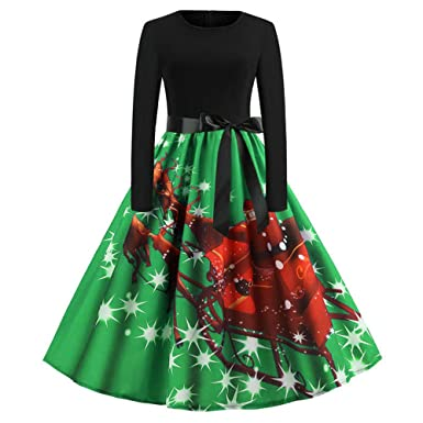 276f1efe756b Yuan 2019 Women s Vintage Print Long Sleeve Christmas Floral Evening Party Swing  Dress Red