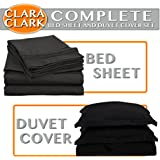 Clara Clark Complete 7 Piece Bed Sheet and Duvet Cover Set, King Size, Black