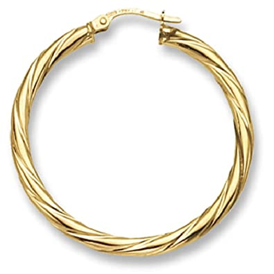 9ct Yellow Gold Extra Twist Hoop Earrings Amazon
