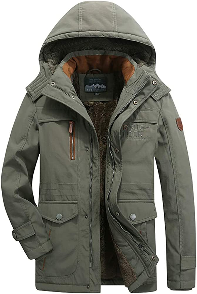 Mens Winter Mid-Long Hoodie Thicken Plus Size Cotton Padded Jacket Coat Mens Plus Velvet Hooded Coats L-6XL