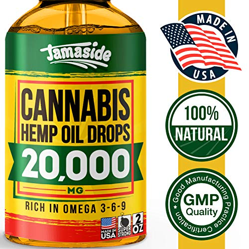 Hemp Oil 20000 MG - Anxiety & Stress Relief - 100% Natural & Efficient - Premium Hemp Oil - Made in USA - Immune Support - Ideal Omega 3, 6, 9 Source - Deep Sleep & Good Mood - NO GMO