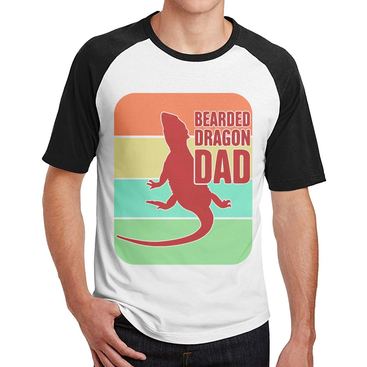Retro Style Bearded Dragon Dad Adult Mens Color Blocking Summertime T Shirt