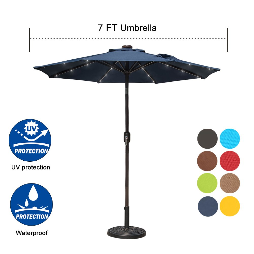 Sundale Outdoor 7 ft Solar Powered 24 LED Lighted Patio Umbrella Table Market Umbrella with Crank and Push Button Tilt for Garden, Deck, Backyard, Pool, 8 Steel Ribs, Polyester Canopy (Navy Blue)