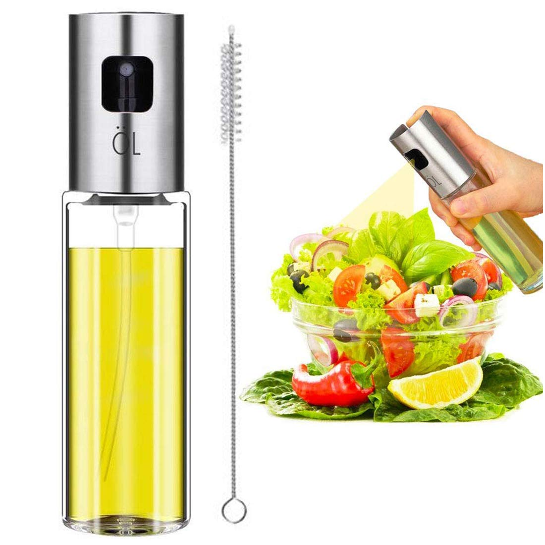 Olive Oil Sprayer, Jufoyo Spray Bottle, Portable Oil Dispenser, Oil Mister for BBQ, Salad, Baking, Roasting, Grilling, Frying, Glass Bottle, FDA Approved, 3.4-Ounce Capacity, Including Free Tube Brush