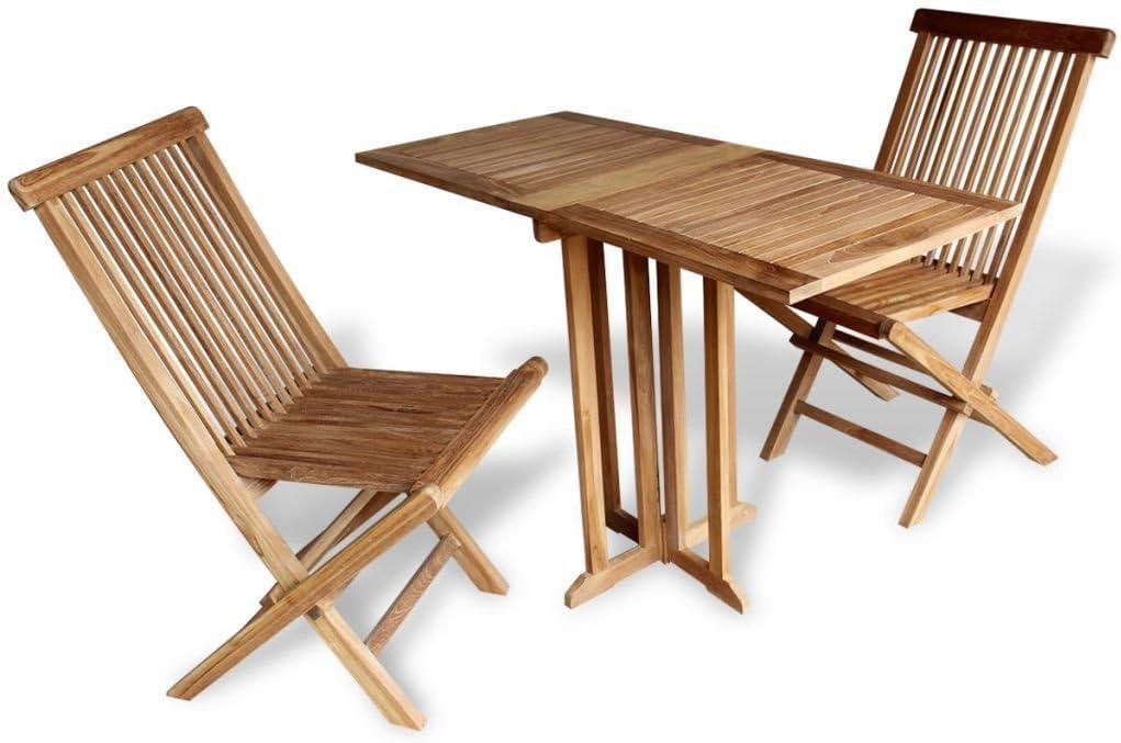 LD teca Balcón Juego Asiento Grupo Muebles de Jardín de Madera Mesa de jardín silla plegable: Amazon.es: Jardín