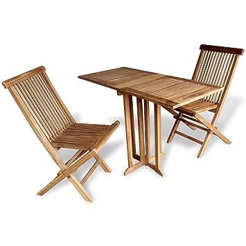 LD Set de Balcon Table de Jardin Salon de Jardin en Bois de Teck ...
