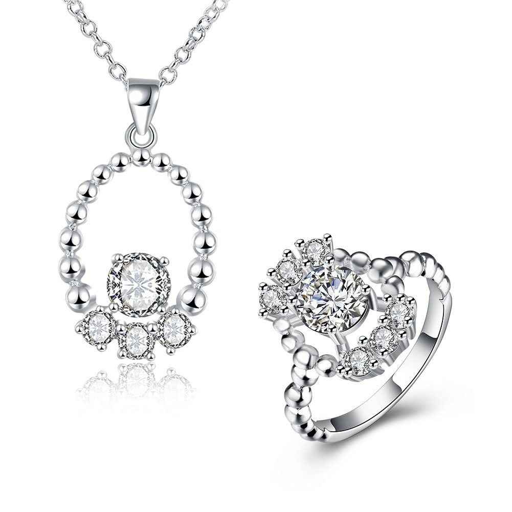 Women\'s 925 Sterling Silver Plated Alloy Cubic Zircon Wedding Jewelry Set Eternity Band Pendant Necklace Engagement Promise Ring Pack of 2 GLOBAL BUY INDUSTRIAL LIMITED GBR00W0171