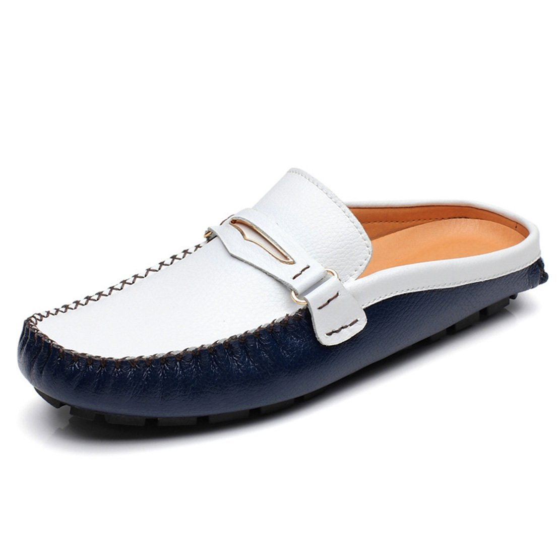 Go Tour Mens Tassels Leather Mule Slip-on Backless Slippers Shoes Blue 47