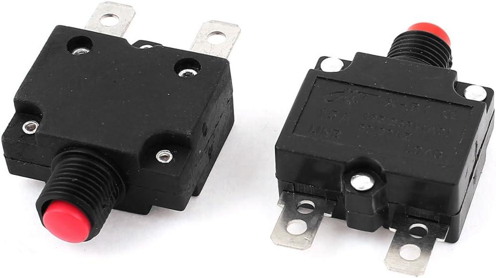 250V 16A Rouge Disjoncteur de surcharge Protector Circuit 2Pcs Bouton de r/éinitialisation 125V