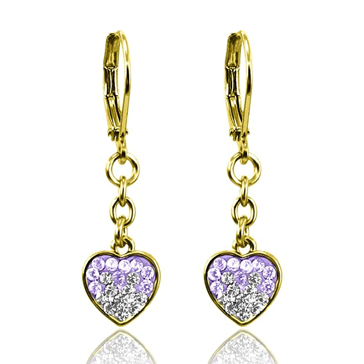Jewelry for Kids Earrings | Crystal Heart Dangle Leverbacks | 18k Gold Plated Hypoallergenic Earrings for Sensitive Ears