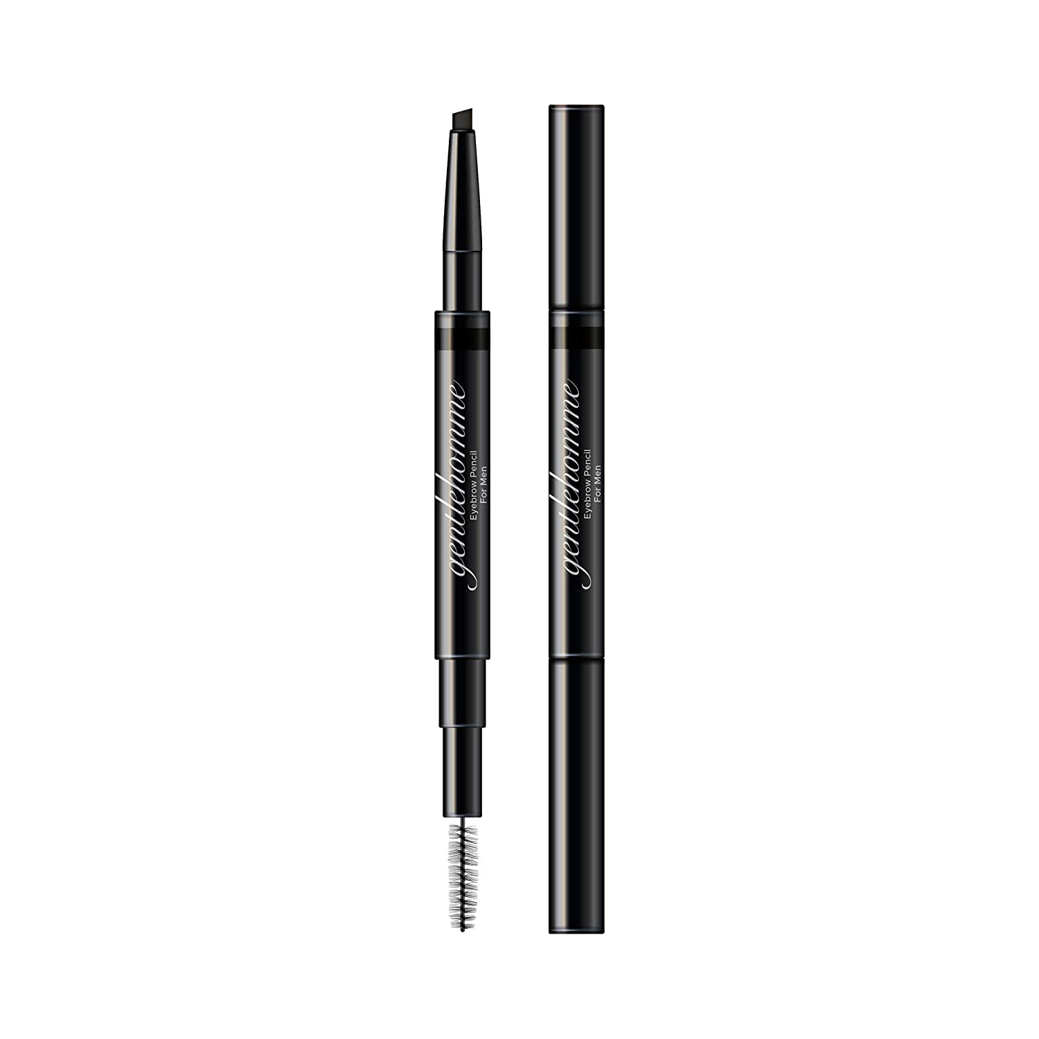 Gentlehomme Mens Eyebrow Pencil Black, Easily Shape Define Fill Eyebrows or Facial Hair, 2 in 1 brush and ultra-thin pencil, Waterproof Smudge Proof Sweatproof, Durable and Long Lasting