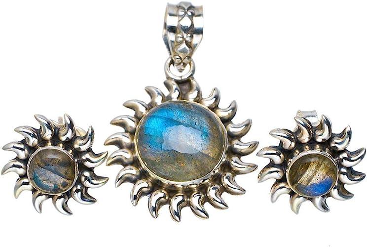 "Solid 925 Sterling Silver Jewelry labradorite handmade big round pendant 2/"""