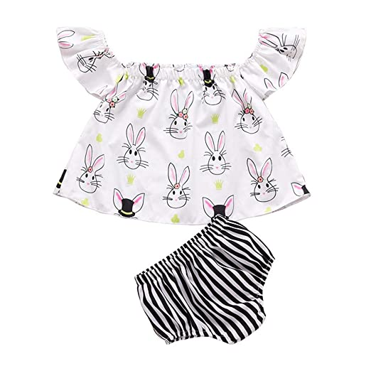 a5c9ad2b847c3 Amazon.com: HANANei 2PCS Baby Outfits, Kids Baby Girl Easter Off Shoulder T Shirt  Tops Bunny Striped Shorts Clothes Set: Clothing