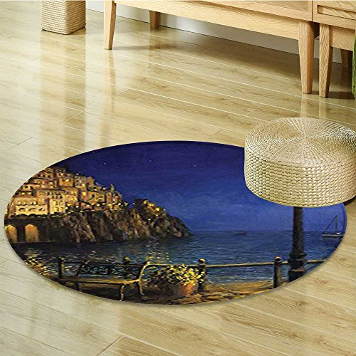 Non Slip Round Rugs Romantic Evening at the Coast of Amalfi in Italy Waters City Oriental Floor and Carpets-Round (Amalfi Oriental Area Rug)
