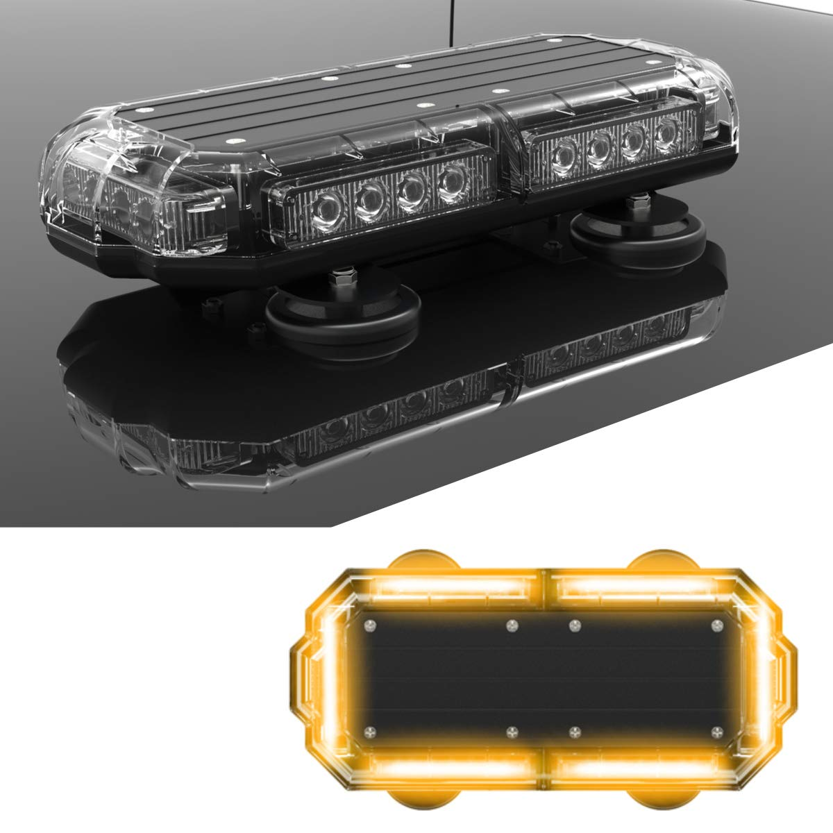 Plows Amber//Amber SpeedTech Lights Mini 14 72 Watts LED Strobe Lights for Trucks and Emergency Vehicles with Magnetic Roof Mount Cars Yellow//Yellow