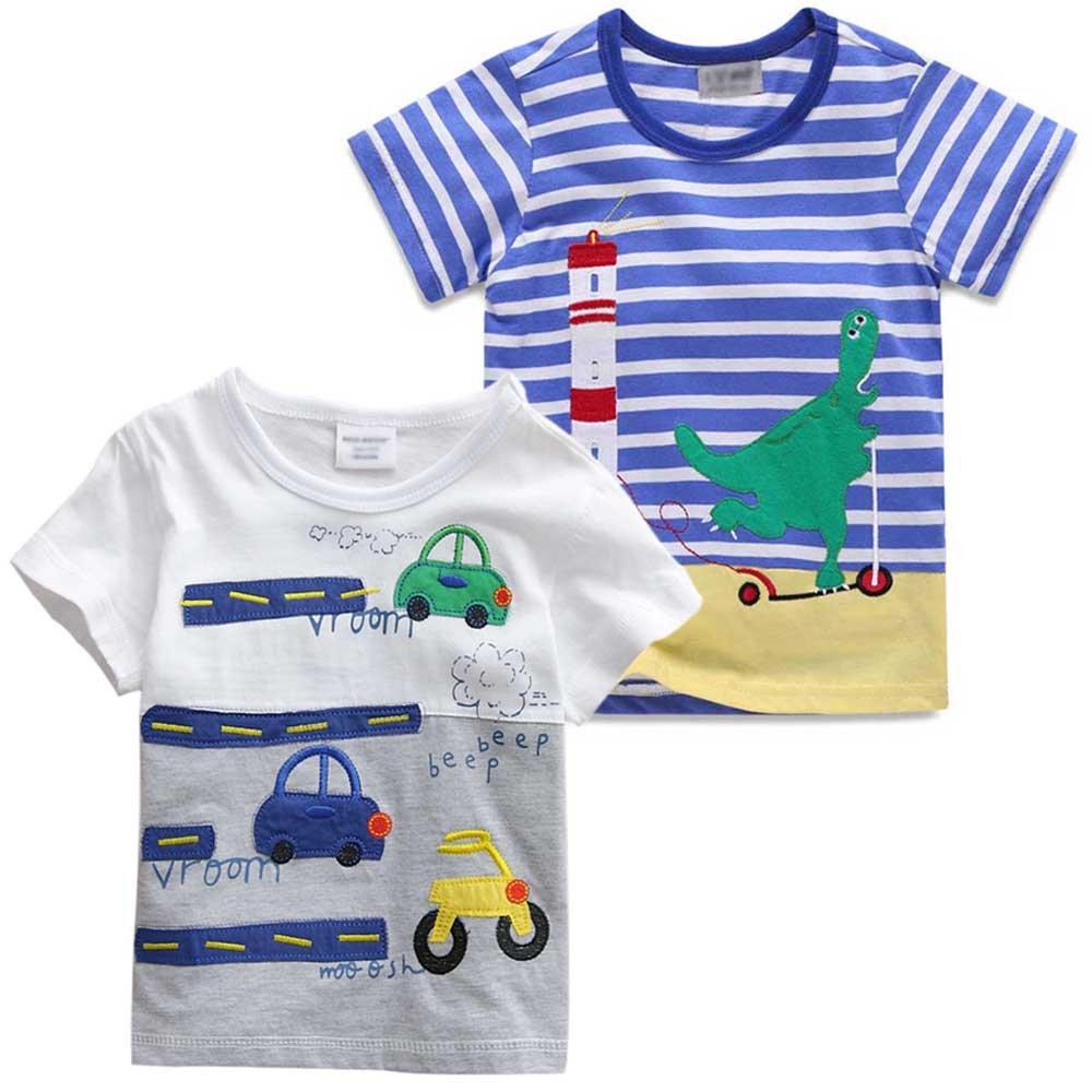 Juze Baby Boys Car Dinosaur Stripe Short Sleeve T Shirt 2-Pack