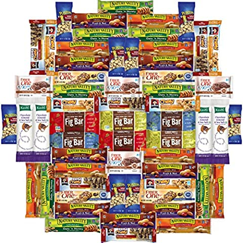 Healthy Bars & Nuts Care Package Variety Pack Bulk Sampler Includes Kashi, Fiber One, Quaker, Fig Bars, Nature Valley, Planters & More (60 - Moments Fig