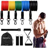 DMYCO Resistance Bands Set - Stackable Exercise Bands Up to 150 Lbs with Door Anchor, Handles, Waterproof Carry Bag and…