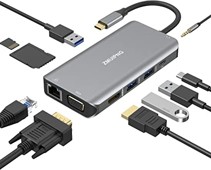 USB C Hub Adapter USB3.0 HOGORE 7-in-1 Type C Hub with 4K USB C to HDMI Compatible with MacBook Pro//Air,HP Spectre,Dell XPS,Galaxy Book//S8//S9//Note8//10,USB C Dock Dongle SD//TF Reader PD Charging