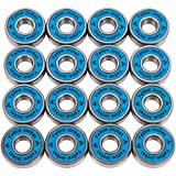 Yellow Jacket Premium Inline Skate Bearings, Roller Skate Bearings, 608, ABEC 9, Bomber Blue (Pack of 16)