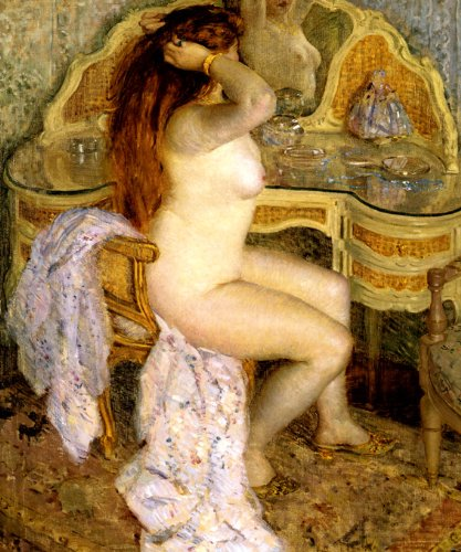 """NUDE SEATED AT HER DRESSING TABLE WOMAN AMERICAN IMPRESSIONISM PAINTING BY FREDERICK FRIESEKE 16"""" X 20"""" IMAGE SIZE REPRO ON CANVAS"""