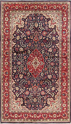 One-of-A-Kind Tabriz Traditional Medallion Hand-Knotted 7x12 Blue Wool Vintage Persian Area Rug (11' 7