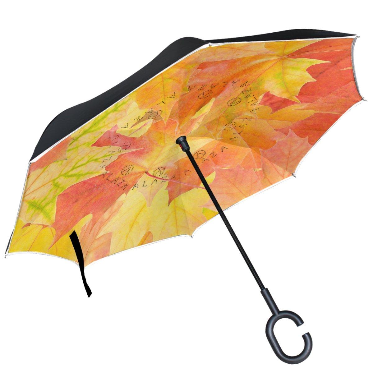 Alaza Autumn Maple Leaves FallゴールドInverted傘二層防風Reverse折り畳み傘for Car with c-shapeハンドル   B076X1KDGR
