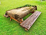 Ambesonne Plant Outdoor Tablecloth, Hop Twigs on an Old and Cracked Wooden Board Fresh Picked Whole Hops Brewing, Decorative Washable Picnic Table Cloth, 58 X 84 inches, Avocado Green Brown