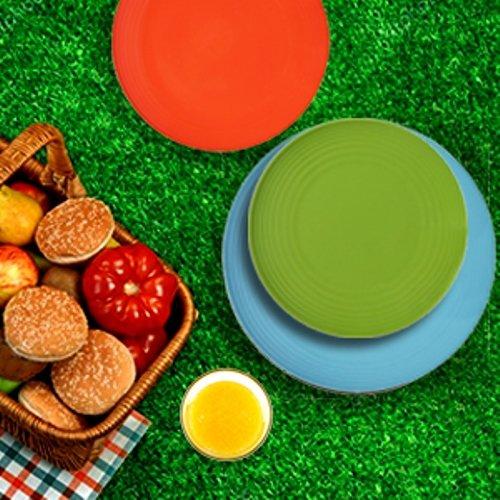Melange 6-Piece  Melamine Dinner Plate Set (Solids Collection )   Shatter-Proof and Chip-Resistant Melamine Dinner Plates   Color: Multicolor by Melange (Image #4)