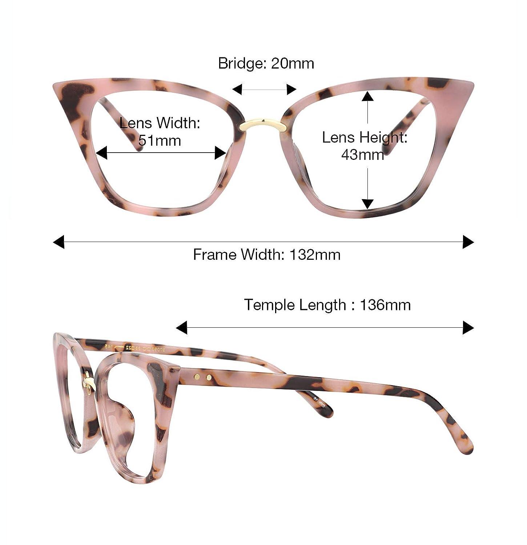 9638a045f8e3 Amazon.com  Zeelool Original Cute Cat Eye Glasses Frame for Women Martha  FA0457-01 Pink Tortoise  Clothing