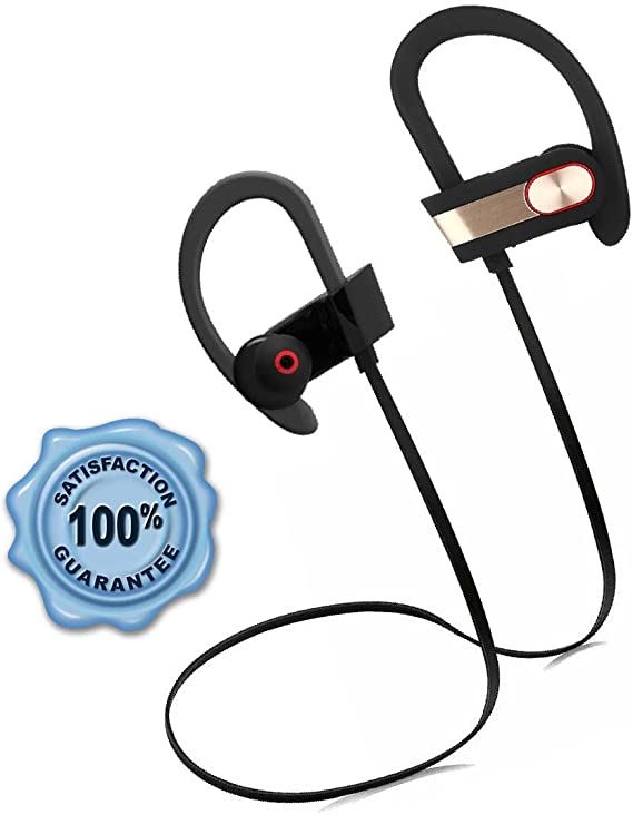 Amazon Com Sports Wireless Headphones Best Bluetooth Headset With Noise Cancelling Stereo Earphones And Mic Long Music And Talk Time Secure Fit And Sweatproof Earbuds For Running And Gym Workout Gold