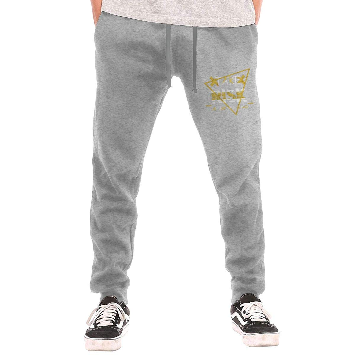 Dbou Take Risk Or Lose The Chance Drawstring Waist,100/% Cotton,Elastic Waist Cuffed,Jogger Sweatpants Black