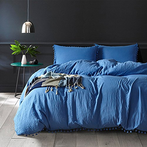 Blue Pompon Duvet Cover Sets - MeMoreCool 100% Polyester Pure Color Home Textiles American Size King by MeMoreCool