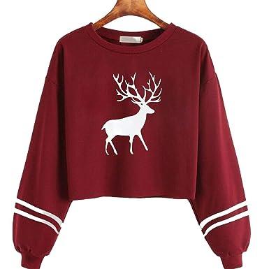 Sweatshirt Women Casual Long Sleeve O Neck Christmas Deer Print Sweatshirt Tops Moletom Feminina Hoodies,
