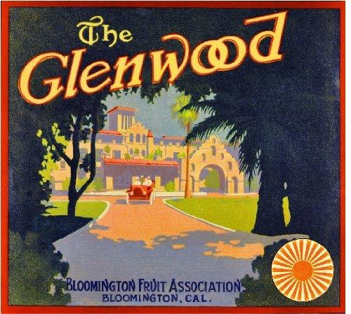 A SLICE IN TIME Bloomington The Glenwood Mission Inn Riverside Orange Citrus Fruit Crate Label Art Print ()