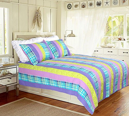 Cozy Line Home Fashions Hawaii Hula Passion Vivid Orchid Purple Green Pink Plaid Print Pattern Bedding Quilt Set, Reversible Coverlet Bedspread, 100% Cotton (Vivid Orchid Multi, Twin - 2 -