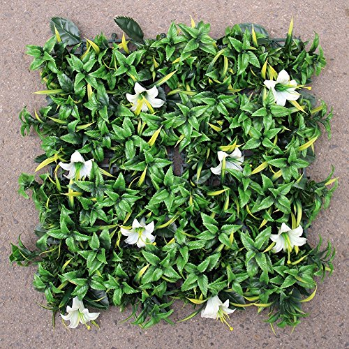 Porpora Artificial Hedge Plant, Greenery Panels Suitable for Both Outdoor or Indoor use, Garden, Backyard and/or Home Decorations (12 pack) by (Lily Flower 12 pack) by Porpora