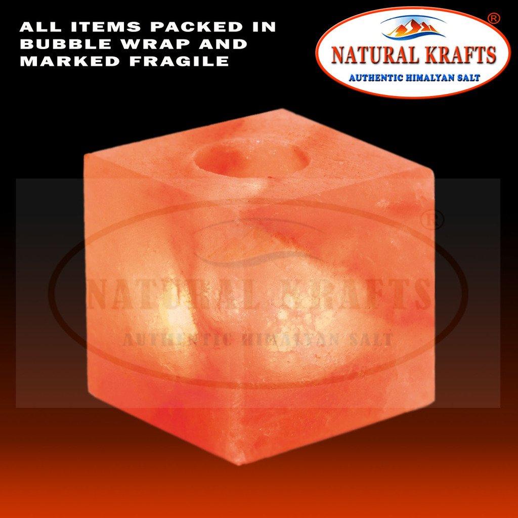 Natural Krafts Fine qualità naturale Himalayan Crystal Candle Tealight Candle Tea Light forma a forma di cubo, naturale salgemma con luce lenitiva e ideale per il regalo NK-CUBE-CNDL