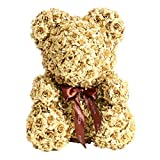 The Rose Bear Teddy Bear Cub LIMITED EDITION GOLD Forever Artificial Rose Anniversary Christmas Valentines Gift 14''