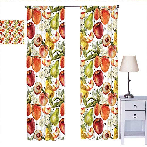 Bedroom Curtains Harvest Time in Organic Country Garden with Pears Apricots Blossoms Generous Nature Short Curtain Multicolor W84 x L96 ()