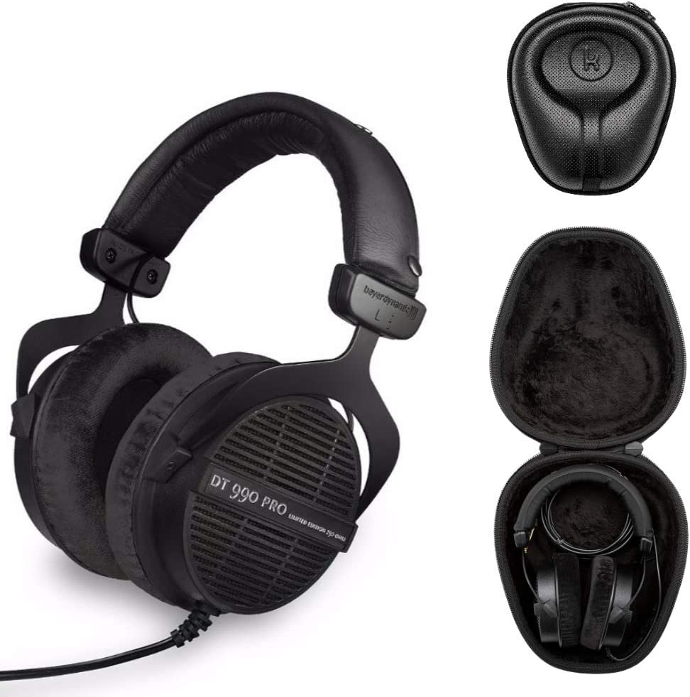 Beyerdynamic DT 990 PRO Studio Headphones (Ninja Black, Limited Edition) with Knox Gear Hard Shell Headphone Case Bundle (2 Items)