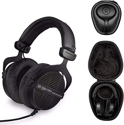 Beyerdynamic DT 990 PRO Studio Headphones (Ninja Black, Limited Edition) with Knox Gear Hard Shell Headphone Case Bundle (2 Items)