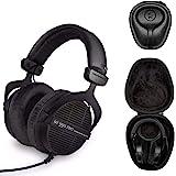 Beyerdynamic DT 990 PRO Studio Headphones (Ninja Black, Limited Edition) with Knox Gear Hard Shell Headphone Case Bundle (2 I