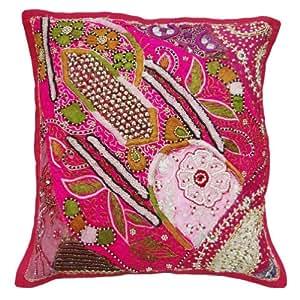 """Funda de almohada rosa de la cubierta del amortiguador del remiendo del diseñador étnico Home Décor Throw Pulgadas India 16 """""""