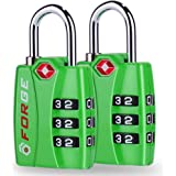 TSA Bright Color Locks 2 Pack - Open Alert Indicator Alloy Body with Easy Read Dials and 3-Digit Combination