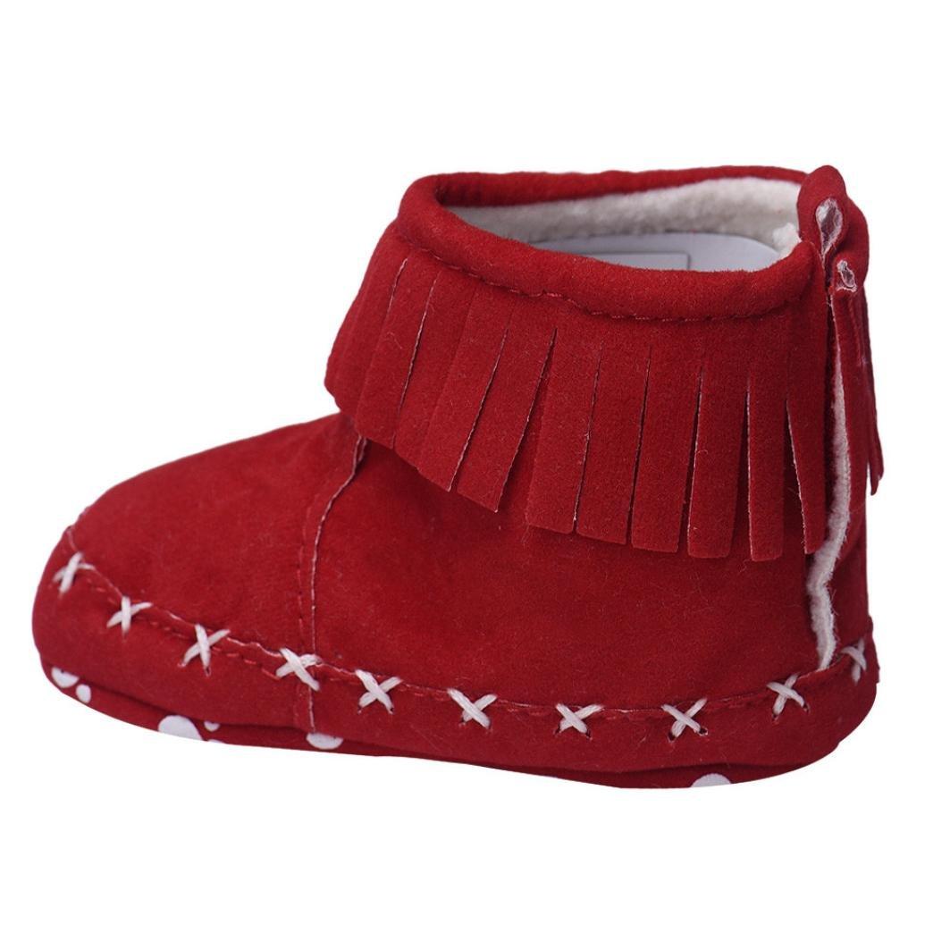 Voberry Toddler Girls Tassel Soft Sole Anti Slip Snow Boot Outdoor