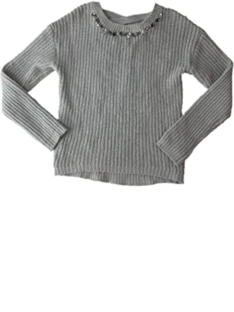 37b8df20 Amazon.com: Girls Gray Knit Rhinestone Chunky Knitted Pullover Sparkly Pull  Over Sweater: Clothing