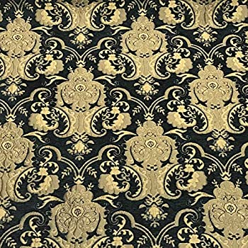 Image of Fabric Chenille Upholstery Drapery Bedding Black & Gold I Damask 50 Yards Full ROLL/Bolt (American Drapery Shop) Home and Kitchen