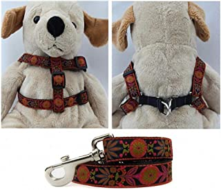 "product image for Diva-Dog 'Venice Ink' Custom 5/8"" Wide Dog Step-in Harness with Plain or Engraved Buckle, Matching Leash Available - Teacup, XS/S"