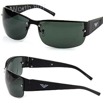 82f3019e83 Amazon.com  Mens Rectangle Fashion Sunglasses Shades Wrap Around Retro  Square Golf Designer  Clothing